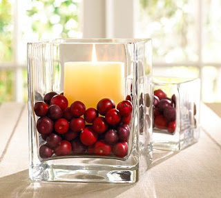 Christmas In November - candles and cranberries