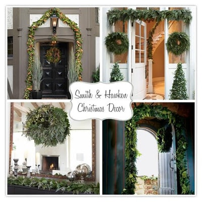 pretty front doors for Christmas