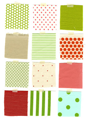Fabric swatches for Stockings and Gift Tags