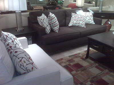 couches, chairs, ottomans + a clock