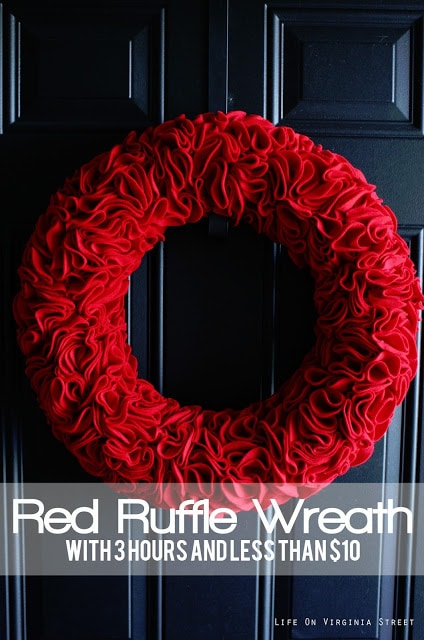 A darling red ruffle wreath made with felt and stick pins! Such a cute piece of decor for Christmas, Valentine's Day, Fourth of July and more!