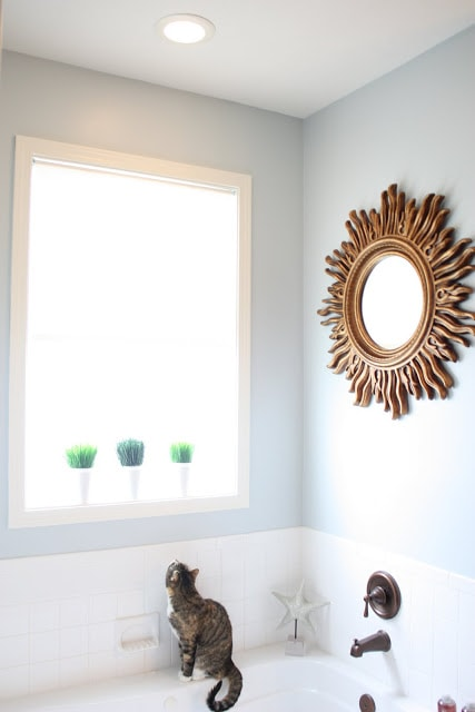 Bathroom walls painted Behr Light French Gray. It's a beautiful light blue gray paint color option!