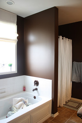 Dark brown master bathroom