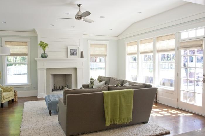 Benjamin Moore Healing Aloe Living Room Walls via Caitlin Creer Interiors. It's a perfect pale blue green paint color!
