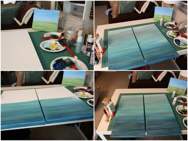 Art canvases being painted.