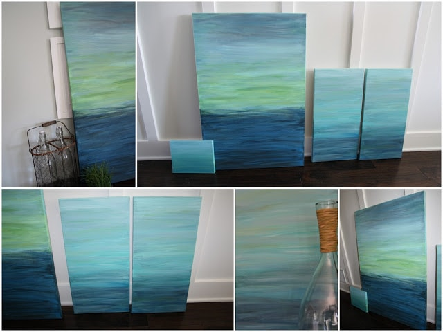 Canvases with various shades of blue.