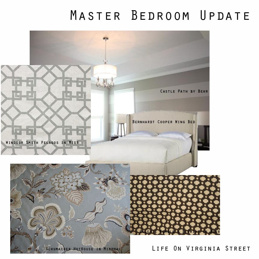 Various patterns and designs to be used in the master bedroom.
