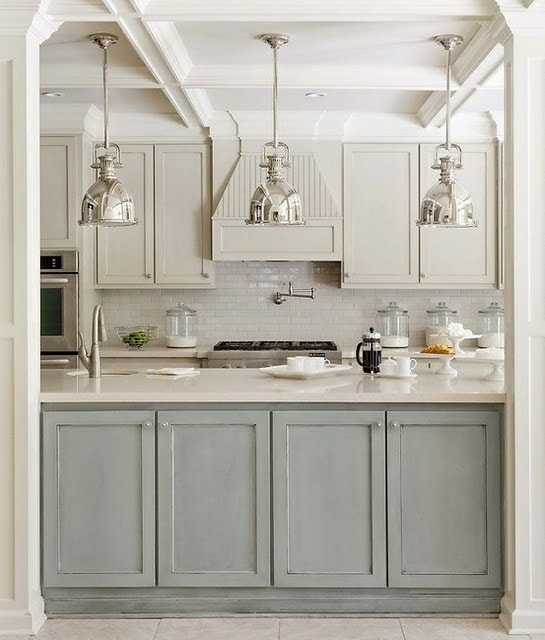 Blue and gray kitchen with Restoration Hardware Benson Pendants