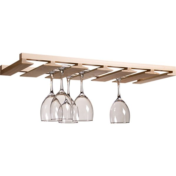 I'd have to stain this light wooden wine glass holder from Crate and Barrel.