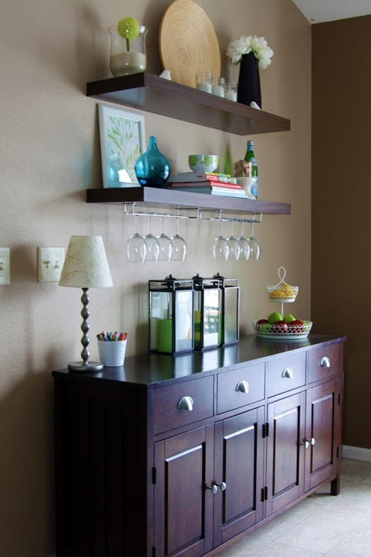 These DIY wine bar shelves are a great option too! The price is right, and I know they will look exactly the way I want them to!