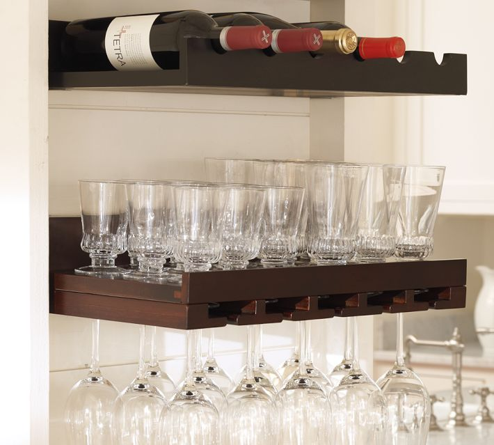 These entertaining shelves from pottery barn hold wine glasses, lowball glasses, tumblers and bottles of wine.
