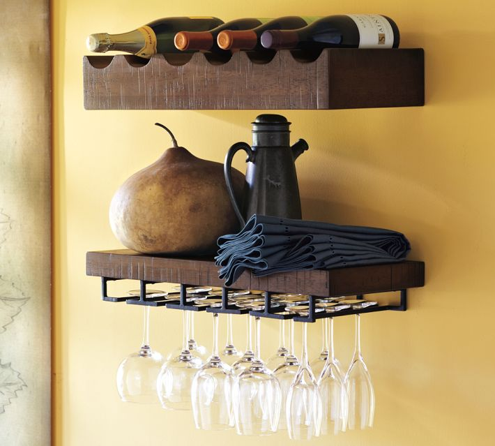 Pottery Barn also makes a rustic wood collection of entertaining shelves. I love how this photo has a tea kettle and other decor elements for a truly rustic vibe.