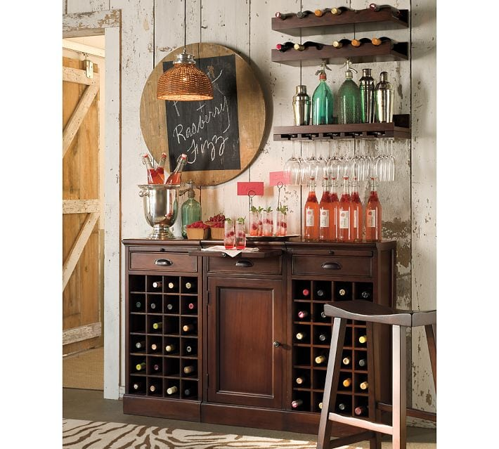 These wooden entertaining shelves from Pottery Barn give such a modern look to this space!