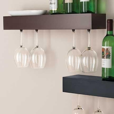 This entertaining and wine bar shelf from Sears is a little more modern than I'd like, with the simple rectangle shape.