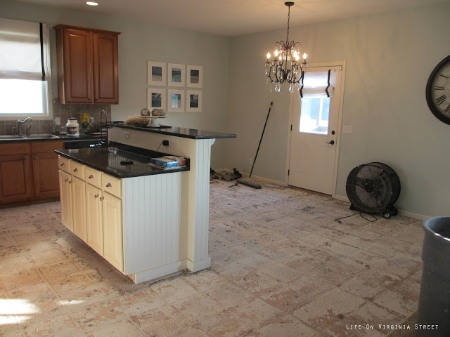 Kitchen with tile floors removed