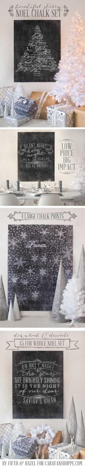 Large Printable Chalkboard Printables - Great Christmas Art!