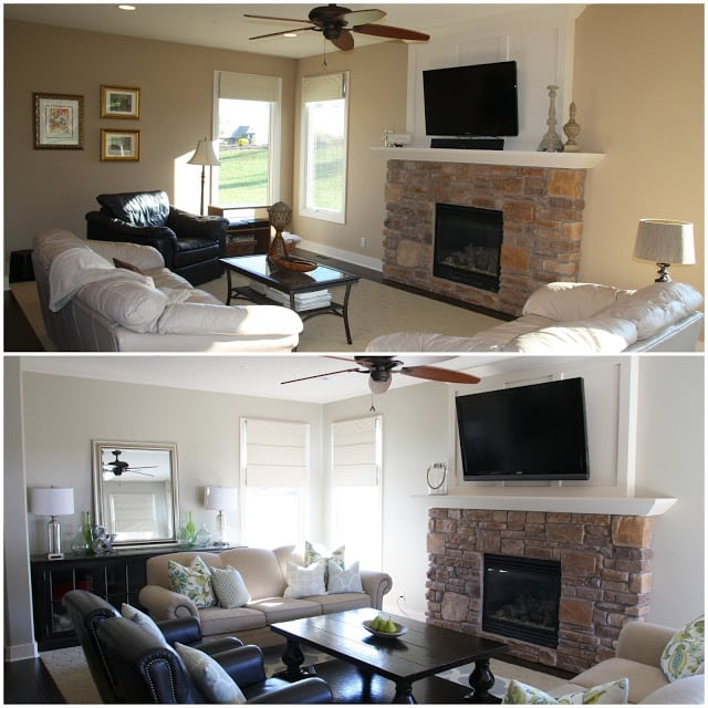 Before and After Living Room with Behr Castle Path Paint