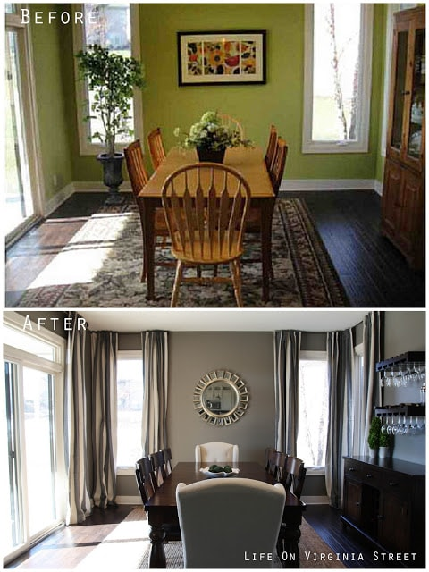 Before and after using Restoration Hardware Slate Paint and Gray and Beige striped linen drapes