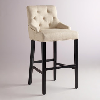 A white barstool and black legs.