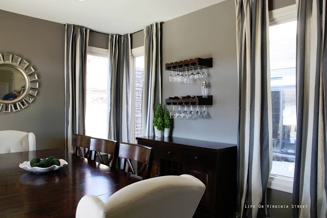 Glam Dining Room with walls painted Restoration Hardware Slate paint