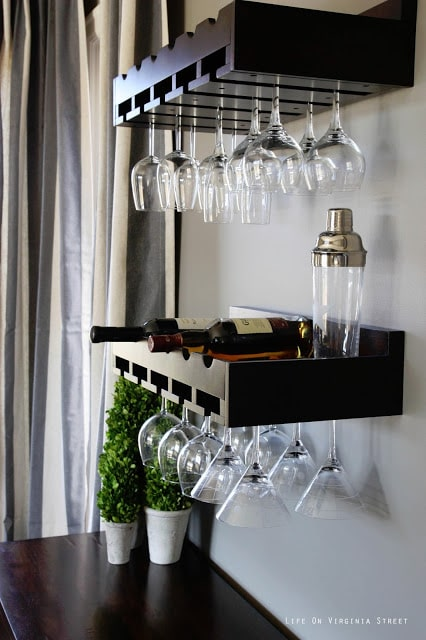 Dark wood wine rack and Restoration Hardware Slate Paint