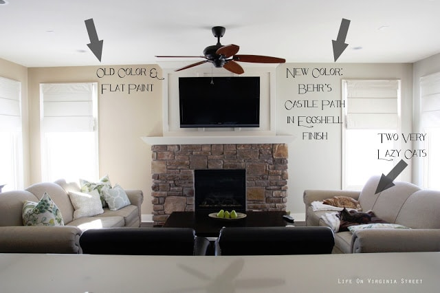 Before And After Living Room Using Behr Castle Path Paint