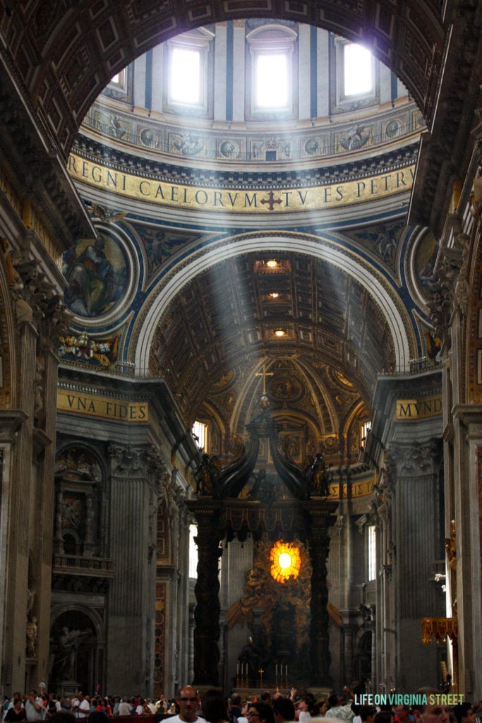The interior of St. Peter's Basilica in Vatican City.