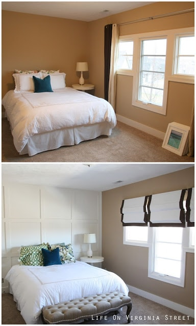 Before and after guest bedroom with board and batten wall