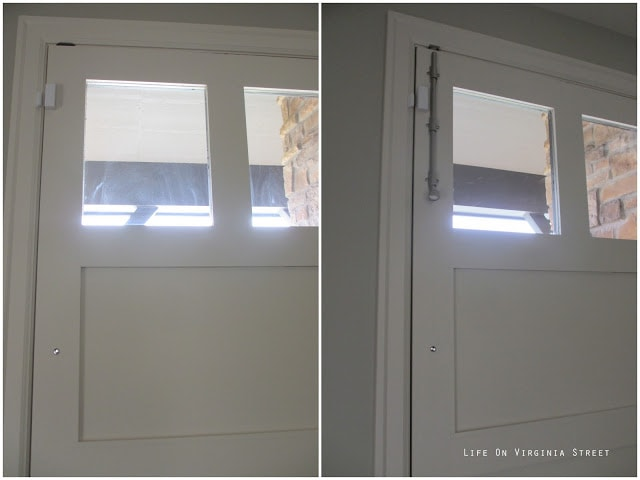 Before and after installing a surface bolt on a front door.