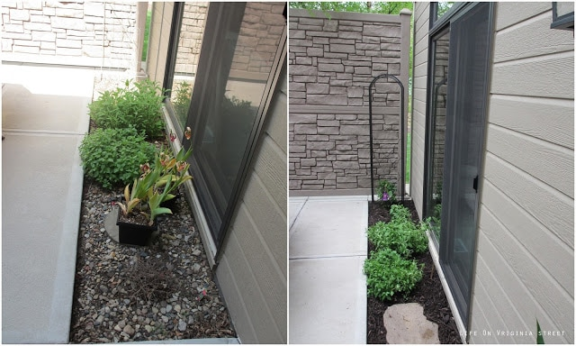 Planting small bushes on the side of the house.