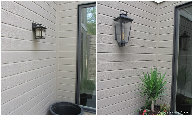 A before picture of changing out the lights on the side of the house.