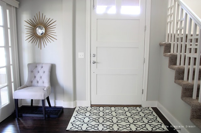 With The Rug Down, I Felt Like Something Was Missing So I Decided To Hang  The Home Depot Sunburst Mirror {seen In Our Last House In Our Guest Bedroom  Above ...