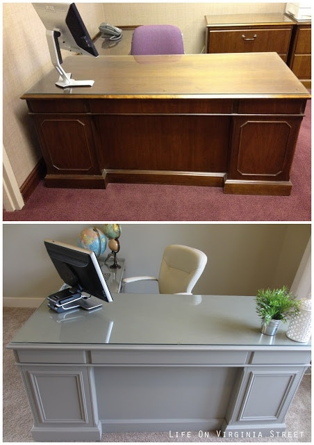 Office desk makeover using new wood trim and gray chalk paint. Such a beautiful transformation!