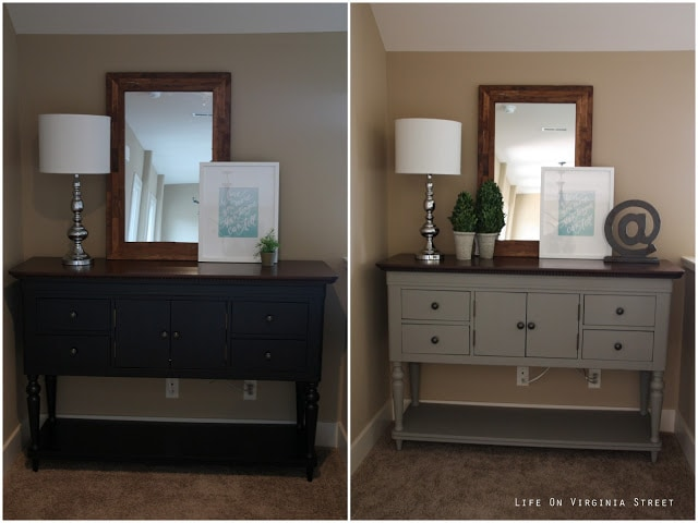 Chalk Paint DIY before and after of our buffet table.