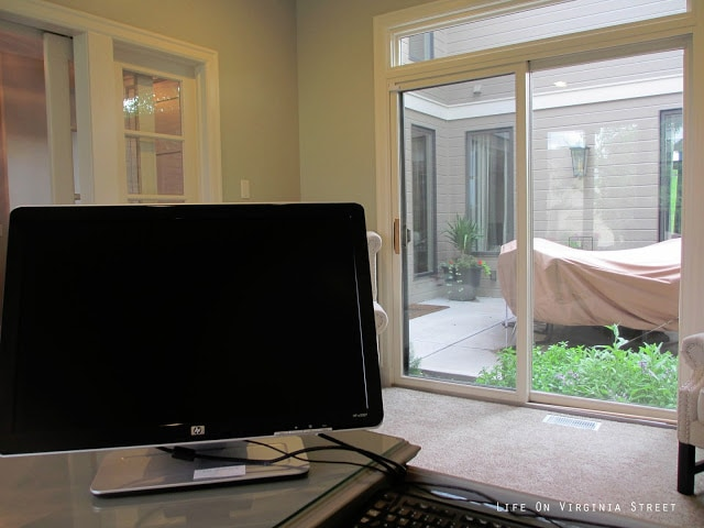 Courtyard view in home office - the view from the new desk.