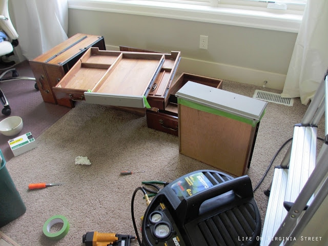 Disassembled desk for easy painting