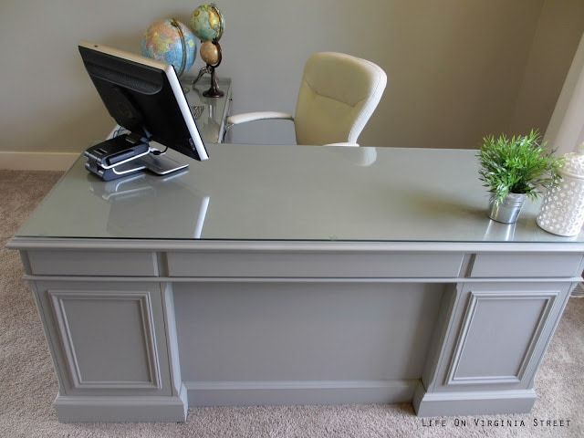 "Here's an ""above"" view of the office desk makeover! I love the Annie Sloan Chalk Paint."