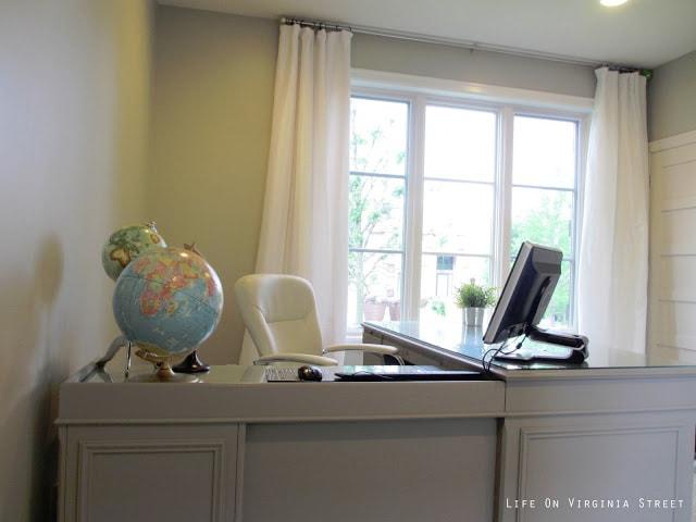 Office desk makeover - from mahogany to gray!