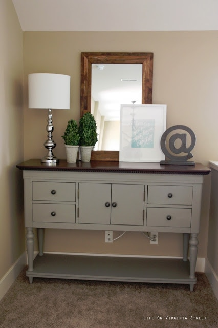 "Here is a great ""after"" shot of the Chalk Painted buffet table makeover using Annie Sloan Chalk Paint in French Linen. I'm really thrilled with the results."