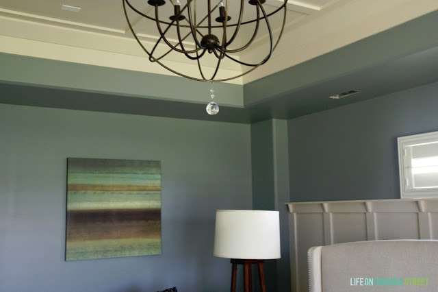 Behr Atmospheric is a great paint color for any space. It rally makes the room feel calm and soothing.