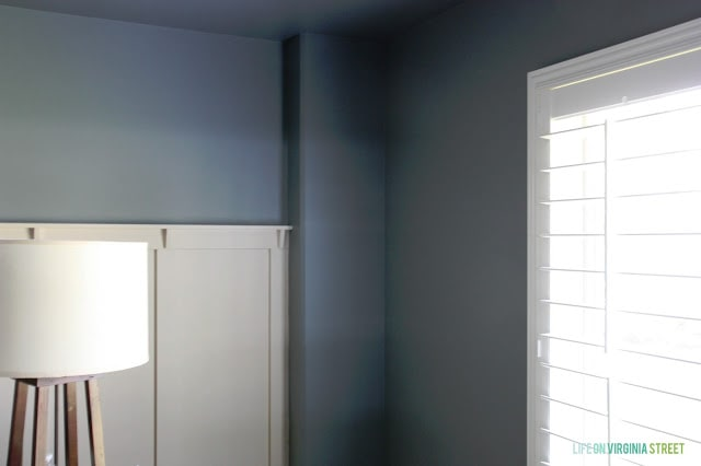 A window shot to show the beautiful paint color Behr Atmospheric we used on our walls.