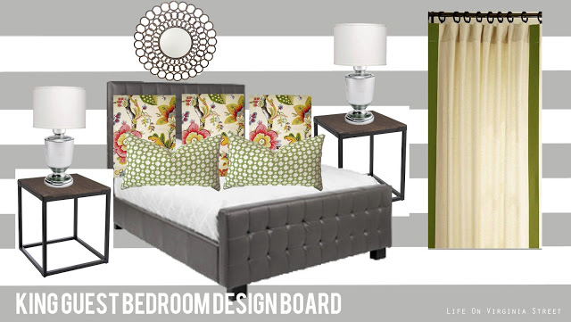 guest bedroom design board with gray and white striped walls