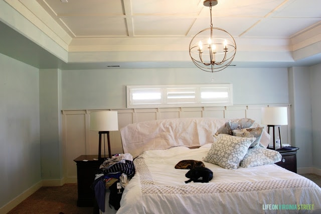 Sherwin Williams' Sea Salt is the new color I've chose for our master bedroom and so far I am loving the look! The neutral color is going to allow me to mix and match the fabrics in the room.