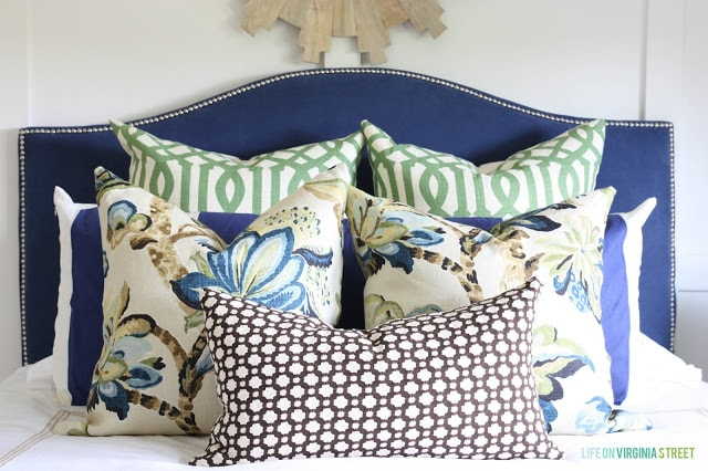 Guest Bedroom with a Blue Headboard