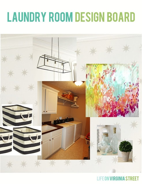 Colorful laundry room design board with white walls with silver star decals, striped totes, a linear chandelier, colorful abstract art, and coastal inspired decor.