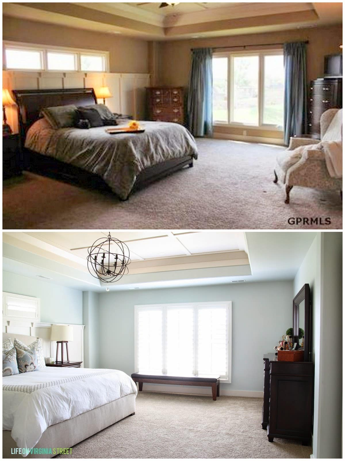A gorgeous master bedroom transformation using Sherwin Williams Sea Salt paint on the walls. Such a soothing and relaxing color for a bedroom or bathroom! I also love the orb chandelier, white bedding, and Schumacher pillows on the bed.