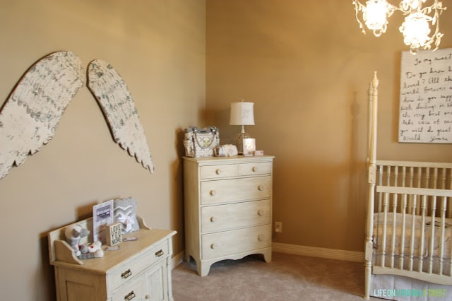 Nursery with Sugarboo Art, Wood Angel Wings and French details.