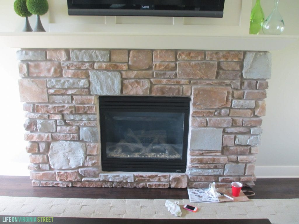Gray-Washed Fireplace Stone Using Annie Sloan Chalk Paint - Life ...