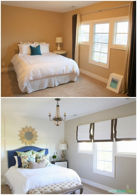 A gorgeous before and after bedroom transformation! I love the white board and batten grid wall behind the bed along with the wood bead chandelier and the wood starburst mirror. The blue headboard is perfectly paired with floral and trellis pillows!