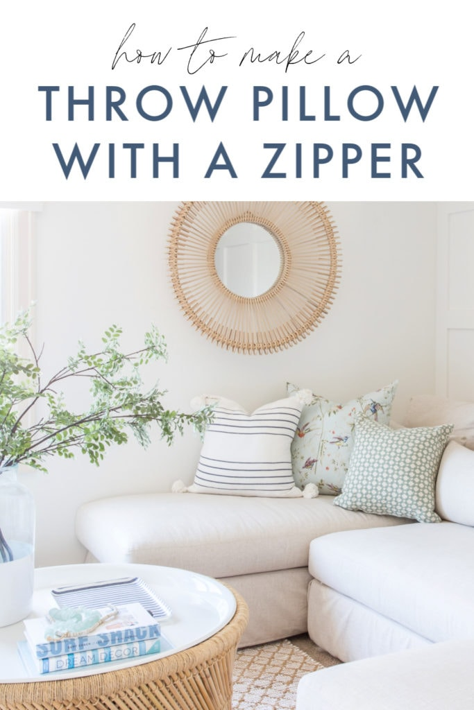 A detailed tutorial on how to make a throw pillow with a zipper! Simple steps to get designer throw pillows at home, for much less!